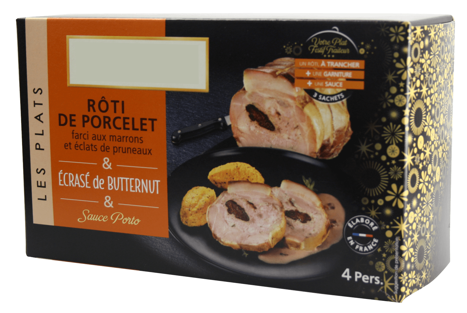 Roast suckling pig, stuffed with prunes and chestnuts: for retail - pack