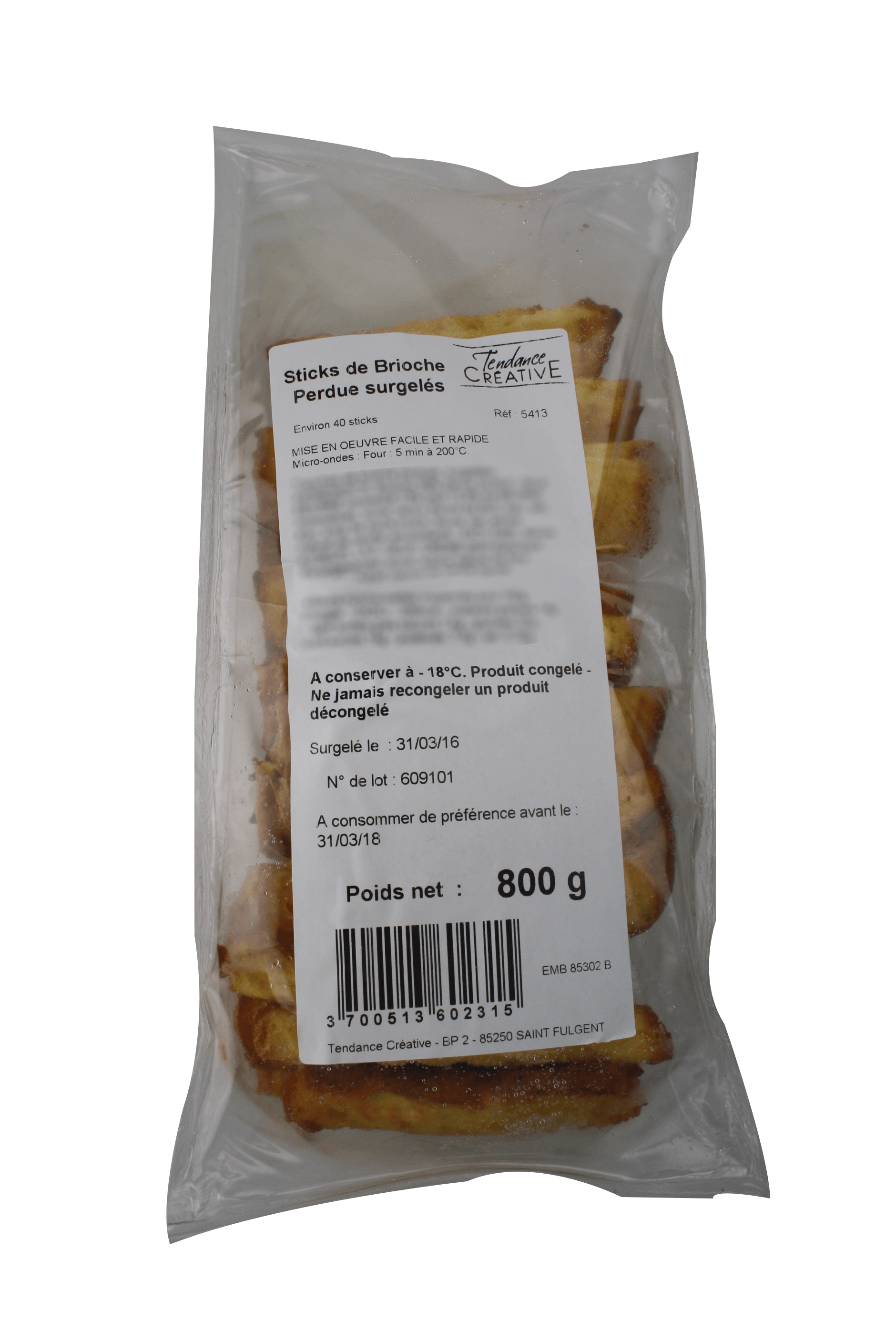 Brioche French toast sticks : for catering - 800g bag